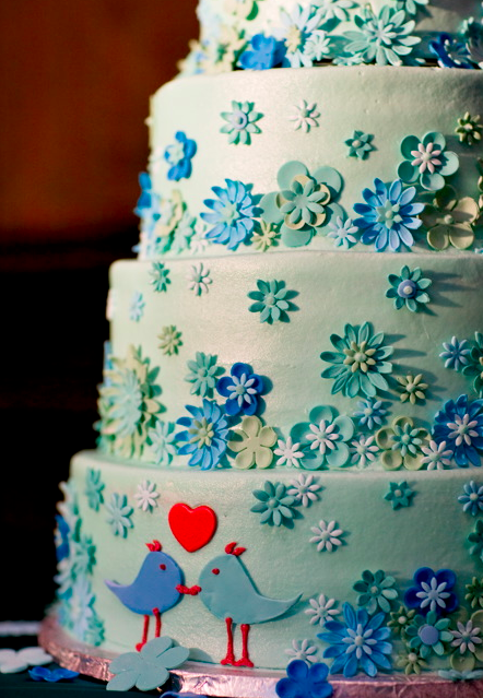 Blue wedding cake by Cakes by Design