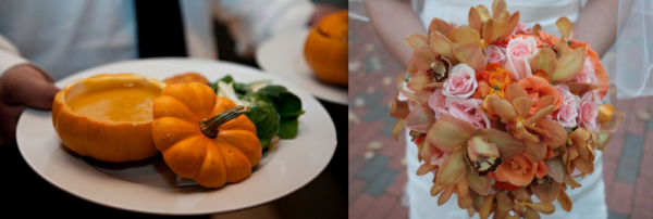 Pumpkin Soup and Bridal bouquet with beautiful fall wedding colors