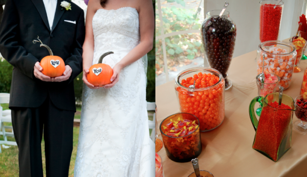 Bride and Groom Thank you with Pumpkins and harvest style candy bar