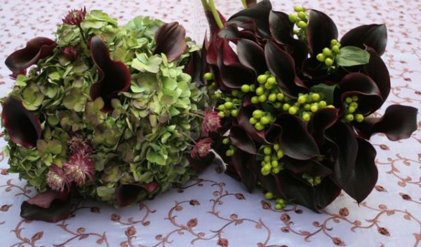 Purple and green bouquets by Elegance and Simplicity
