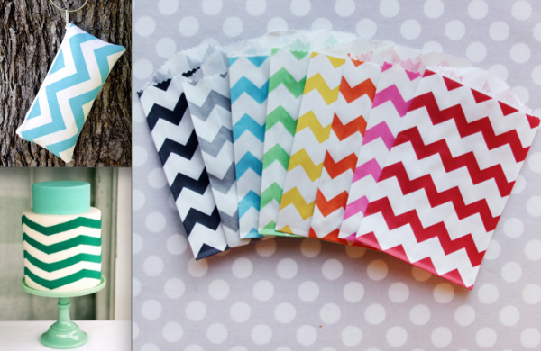 Chevron Wedding Style with Clutch, cake and favor bags