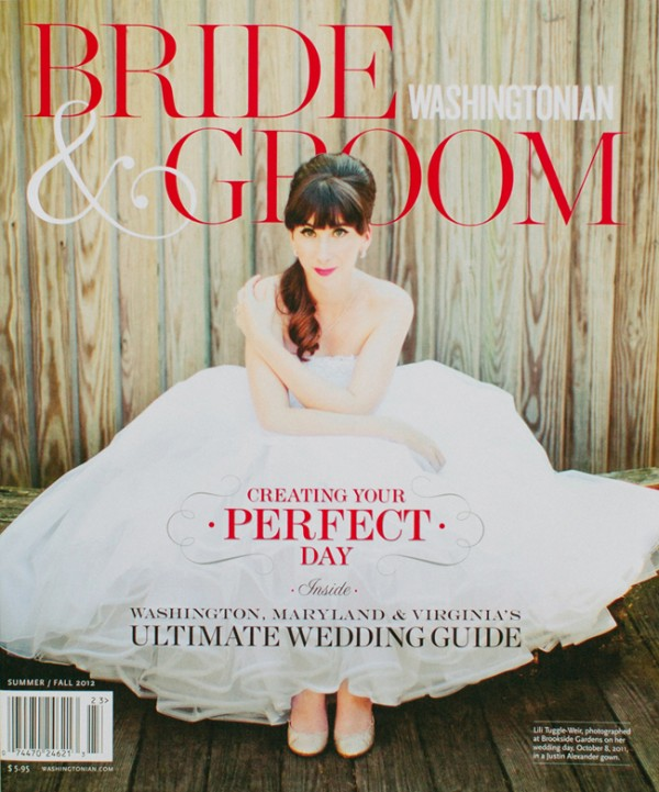 Brookside Gardens Bride on the Cover of Washingtonian Bride and Groom