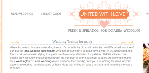 United WIth Love Wedding Trends