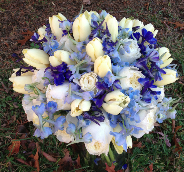 Blue bridal bouquet by Elegance and Simplicity