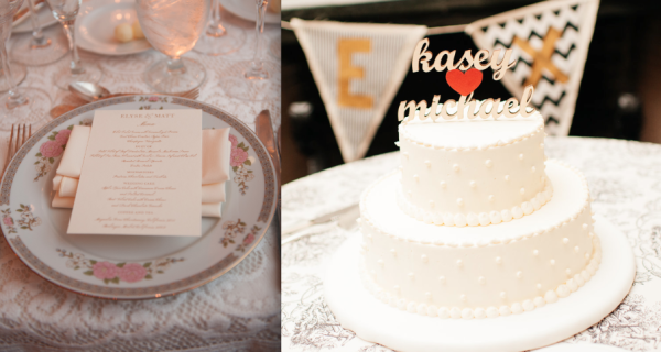 DC wedding details with vintage plates and cute wedding cake