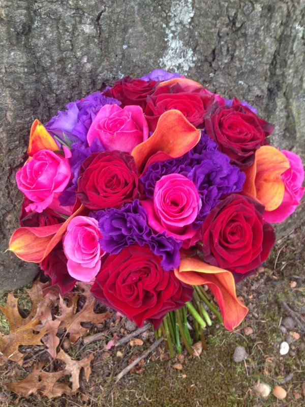 Bright and bold bridal bouquet